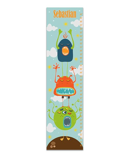 Finny And Zook Blue Monster Stack Personalized Canvas Growth Chart