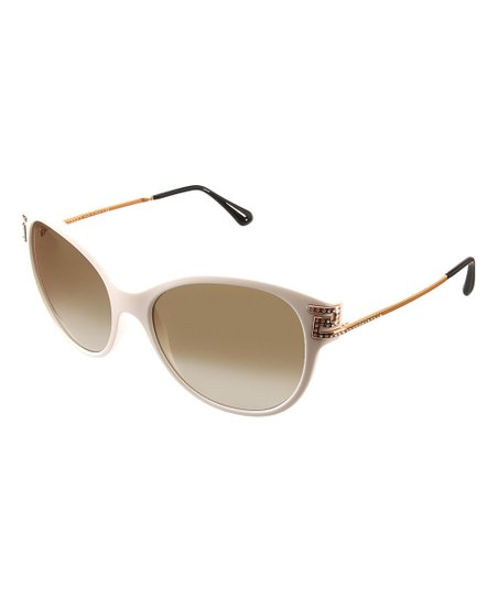 fcc884f7b76288 love this product White & Gold Greca-Accent Cat-Eye Sunglasses