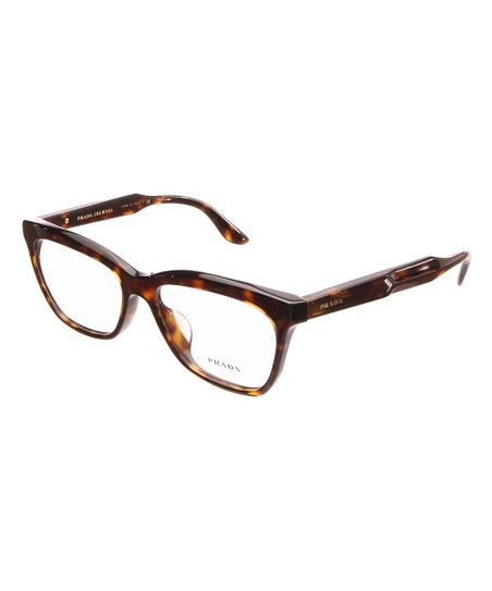 23b51b2da6 Prada Brown   Dark Brown Tortoiseshell Logo-Arm Square Eyeglasses ...