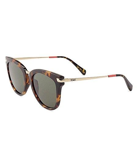 eebe2b5005ab TOMS Blonde Tortoise & Green Adeline Polarized Sunglasses - Adult ...