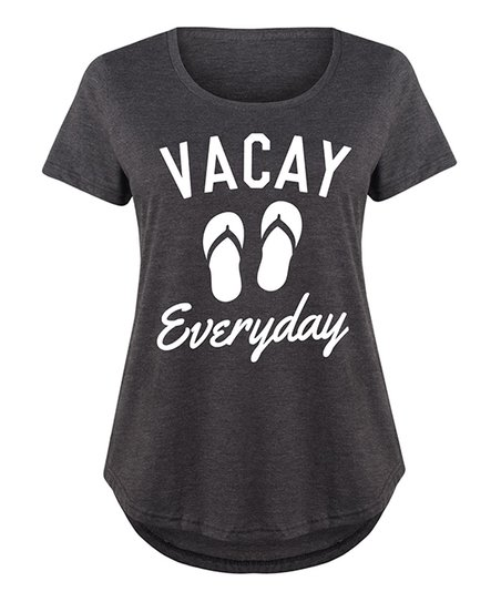 4ab955023 LC trendz Plus Heather Charcoal Vacay Everyday Scoop Neck Tee | Zulily