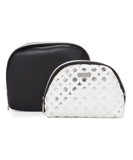 Black White Cutout Accent Dome Cosmetic Bag Set