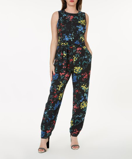 f59fa82e6b1 Essentials by A.B.S Black Floral Sleeveless Jumpsuit - Women