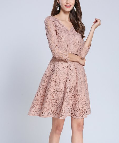 1ecec5474a love this product Pink Floral Lace Overlay A-Line Dress - Women