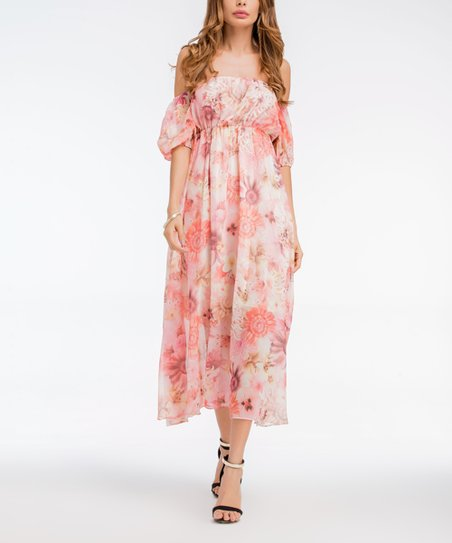 303d28c159 Skoonheid Light Pink Floral Empire-Waist Off-Shoulder Maxi Dress ...