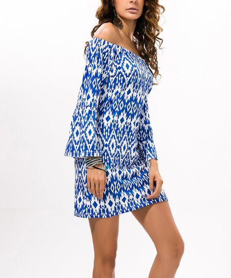 511fbd857217 love this product White   Blue Geo Off-Shoulder Shift Dress