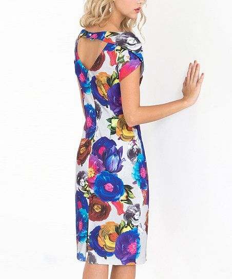 7137c097 Alton Gray Gray Floral Open-Back Sheath Dress - Women   Zulily