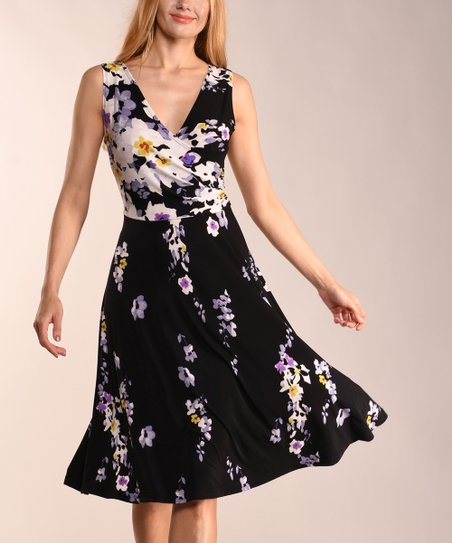 9a40a563b95e love this product Black & Purple Floral Fit & Flare Dress - Women