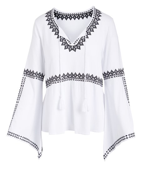 4dcb85b07995bf love this product White & Black Embroidered Bell-Sleeve Peasant Top - Women