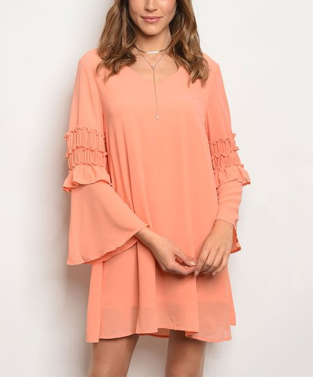 d0501275abd2 love this product Coral Bell-Sleeve V-Neck Dress - Women