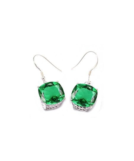 V3 Jewelry Emerald Sterling Silver Cushion Cut Drop Earrings