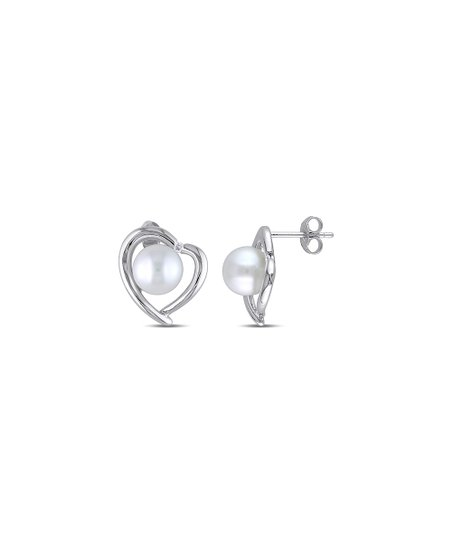 5b271ecad Sofia B Cultured Pearl & Sterling Silver Diamond-Accent Heart Stud ...