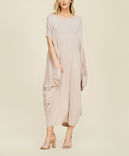 7c65369cc62 love this product Taupe Side-Pocket Oversize Maxi Dress - Women