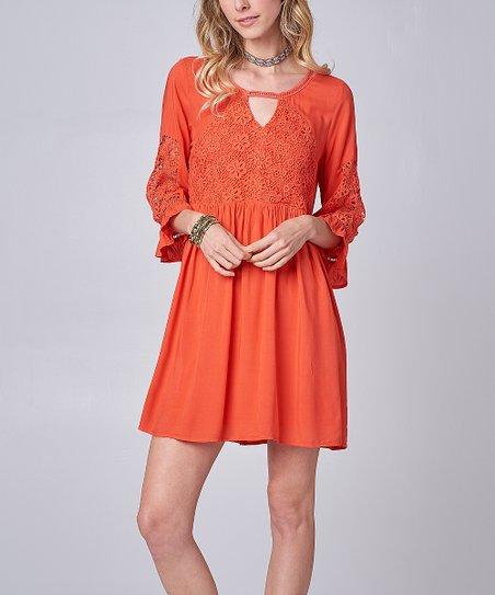 48614f452b5 Coral Lace Yoke Keyhole Cutout Bell-Sleeve swing Dress - Women