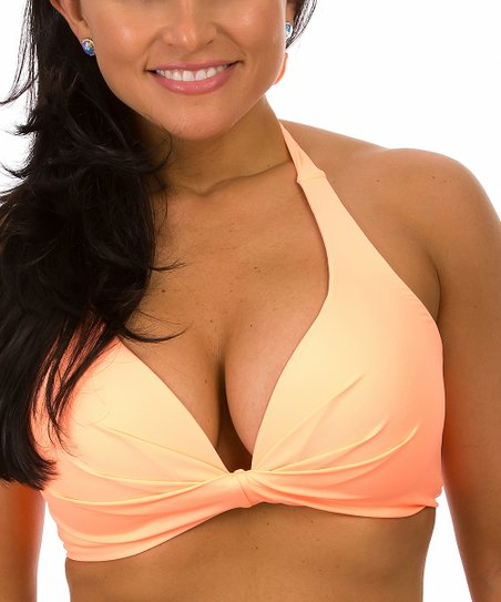 85c61885350b9 love this product Peach Deep V Halter Bikini Top - Women   Plus