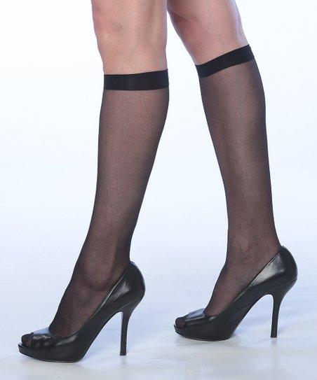 58ed1bb15 Isadora Black Sheer Knee-High Socks Set - Women