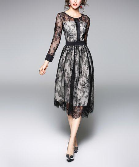Yyfs Black White Lace Overlay A Line Dress Zulily