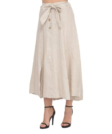 b85c46d68755 La Fabrique du Lin Beige Tie-Waist Linen Midi Skirt - Women | Zulily