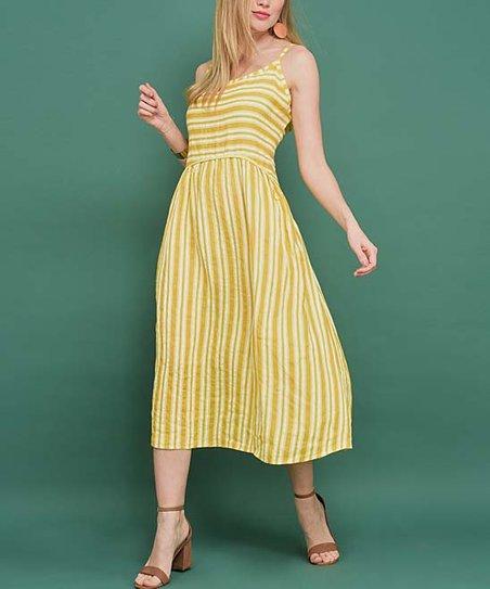 979cec437c love this product Yellow & White Stripe Linen Sleeveless Midi Dress - Women  & Plus