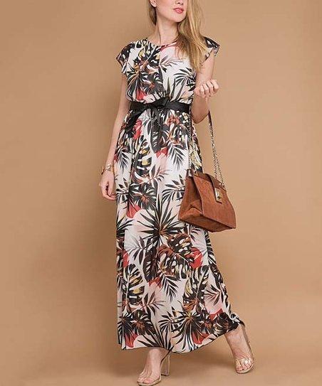 e634ed5066f5 La Fille du Couturier White Floral Palm Belted Maxi Dress - Women ...