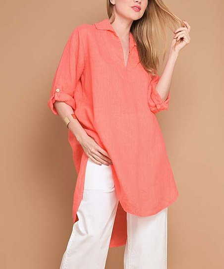 98e1de11c4 La Fille du Couturier Coral Linen Shirt Tunic - Women & Plus | Zulily