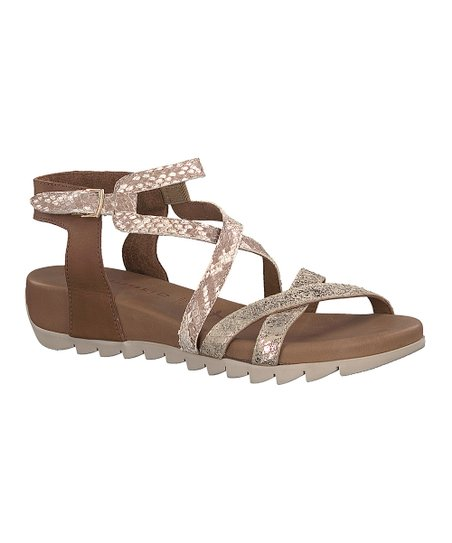 d95853d3c love this product Cognac   Comb Snake Ankle-Wrap Miki Leather Sandal - Women