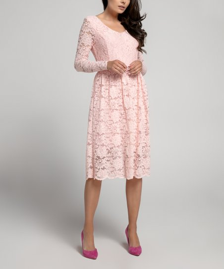 Naoko Light Pink Lace Long Sleeve A Line Dress Women