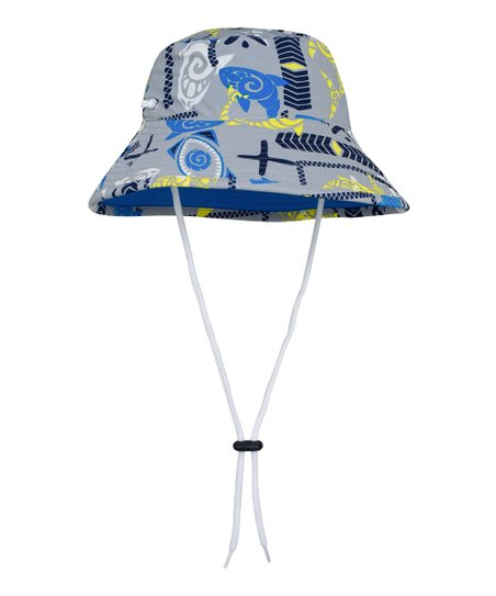 9dff793ba367c9 Tuga Sunwear Fanatic Gray & Blue Shark Reversible Bucket Hat | Zulily