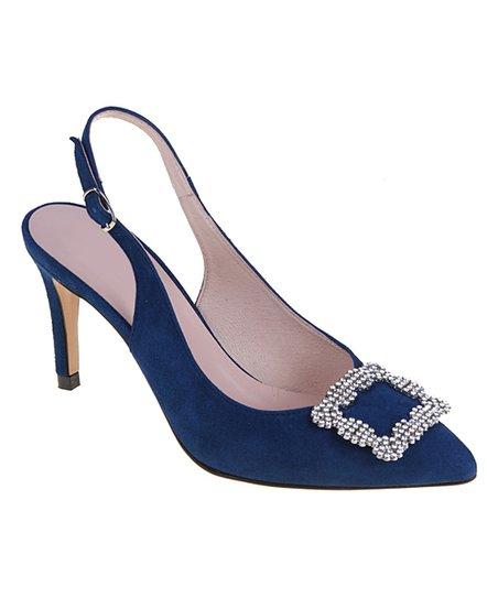 e4e9bcd065 love this product Navy Rhinestone Buckle-Accent Leather Slingback Pump -  Women