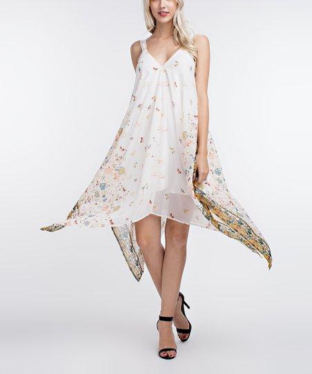 40e08ba4b93 Cherry On Boutique Off-White Scarf Print Handkerchief Dress - Women ...