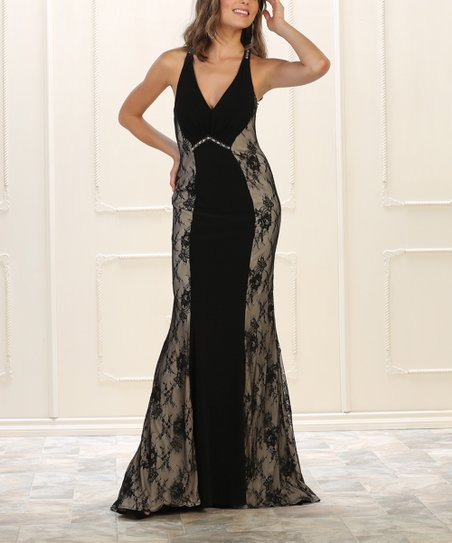 May Queen Black Lace Panel Accent Racerback Maxi Dress Women Zulily