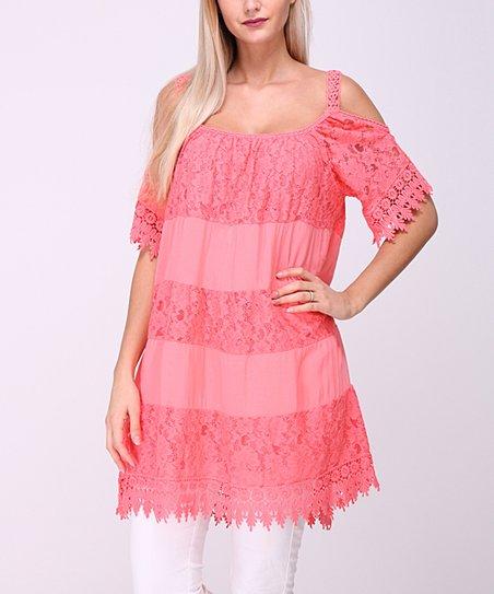 6da911d82a87 love this product Coral Lace-Panel Off-Shoulder Dress - Women