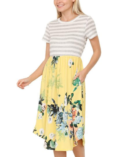 55432df4e3 love this product Yellow Floral & Stripe Pocket Midi Dress - Women & Plus