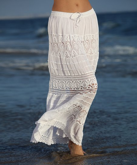 ba2c18078 Anandas Collection White Sheer Lace Tiered Maxi Skirt - Women | Zulily