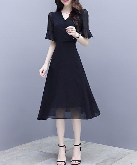 073a30979 Charlie Charlie Charlotte Black Ruffle-Sleeve Fit & Flare Dress ...
