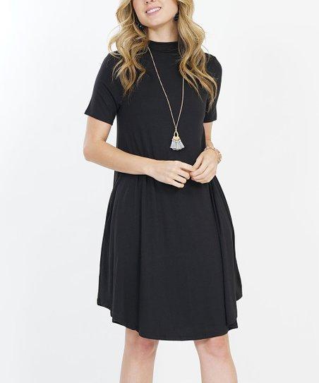 70aef374c4 love this product Black Pocket Mock Neck Shift Dress - Women