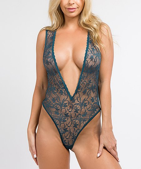 07aa99c5bb49 Just Sexy Green Sheer Lace Bodysuit - Women | Zulily