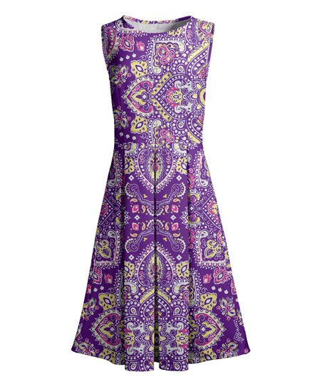 love this product Purple   Yellow Medallion Pleated Sleeveless Dress - Women 5d01eeeef