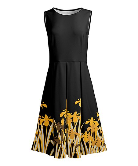 c67de7529ee3 love this product Black & Gold Pleated Sleeveless A-Line Dress - Women &  Plus