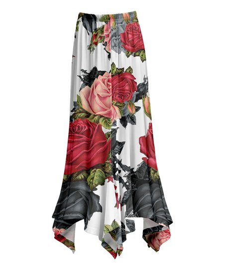 8cdcf321e6 love this product White & Red Floral Handkerchief Maxi Skirt - Women & Plus