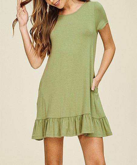 fd7d05860dd0 Annabelle USA New Olive Ruffle-Hem T-Shirt Dress - Women | Zulily