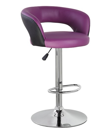United Office Chair Height Adjustable Swivel PU Leather Armless Barstool  With Semi Circle Back, Pub Chair In Purple Black
