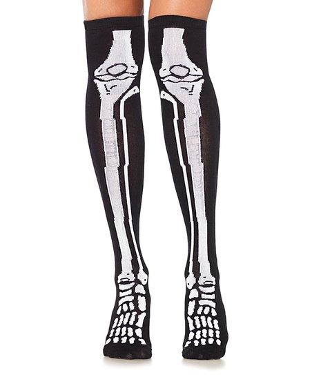 04c8e4b9d880f Leg Avenue Black & White Skeleton Knee-High Socks - Women   Zulily