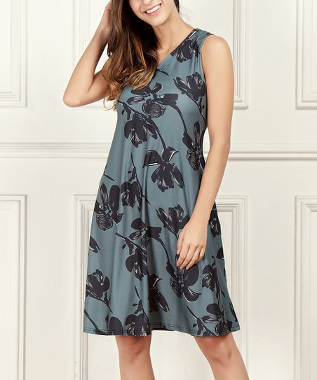 d5132083d7dfb love this product Charcoal Floral Sleeveless V-Neck Side-Pocket Dress -  Women   Plus