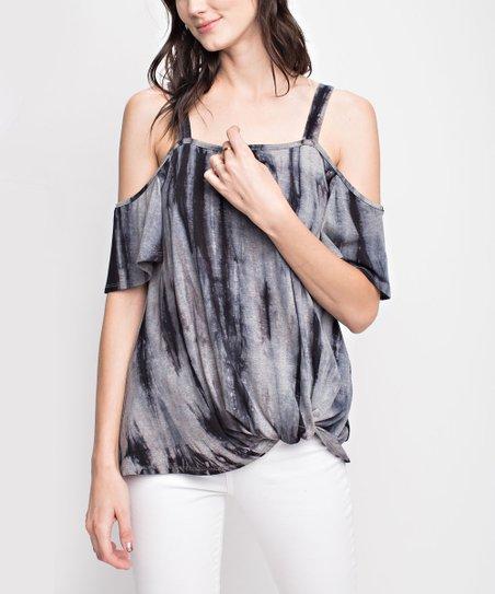 e9d10066fe074 love this product Black   Gray Tie-Dye Off-Shoulder Top - Women
