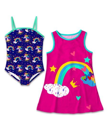 0a019053ec153 Sunshine Swing Navy   Turquoise Unicorn One-Piece   Pink Rainbow ...