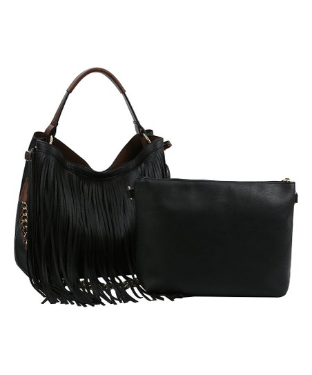 660da6a6bab5d8 Gucci Nouveau Suede Jackie Nero Black Fringe Hobo Bag At. Handbag Republic Black  Fringe Hobo Pouch Zulily. Fringe Hobo Handbag Foto All Collections ...