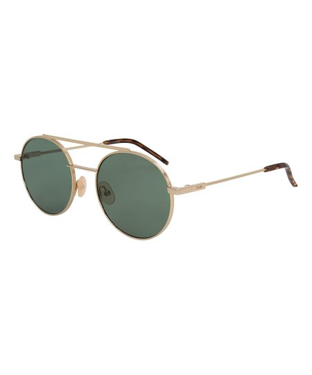 10600d347c72 love this product Silver   Green Round Modified Aviator Sunglasses