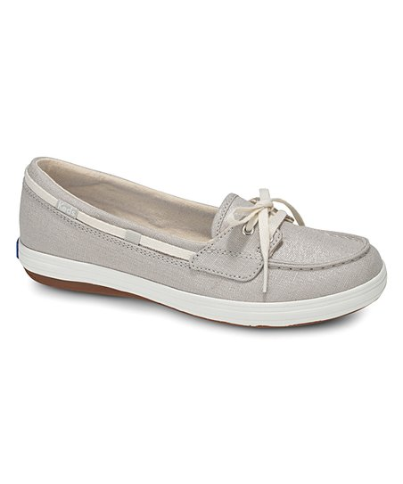 c675f540d9 love this product Silver Metallic Glimmer Linen Boat Shoe - Women