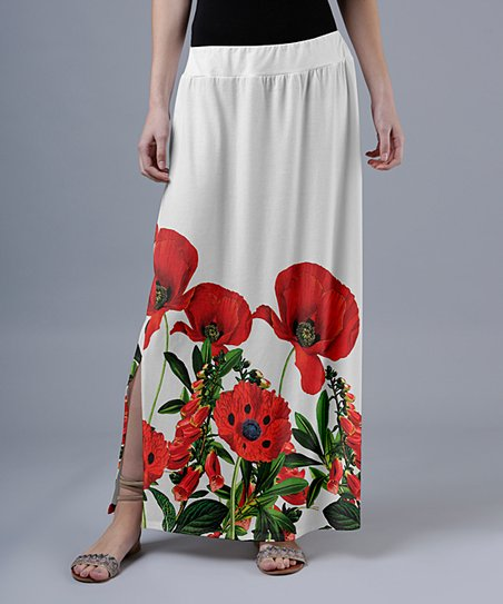 d03f38df40 love this product Red & White Floral Side-Slit Maxi Skirt - Women